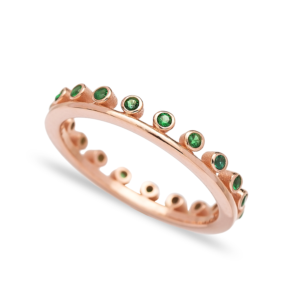 Thin Design Emerald Stone Band Ring Wholesale Turkish 925 Sterling Silver Jewelry
