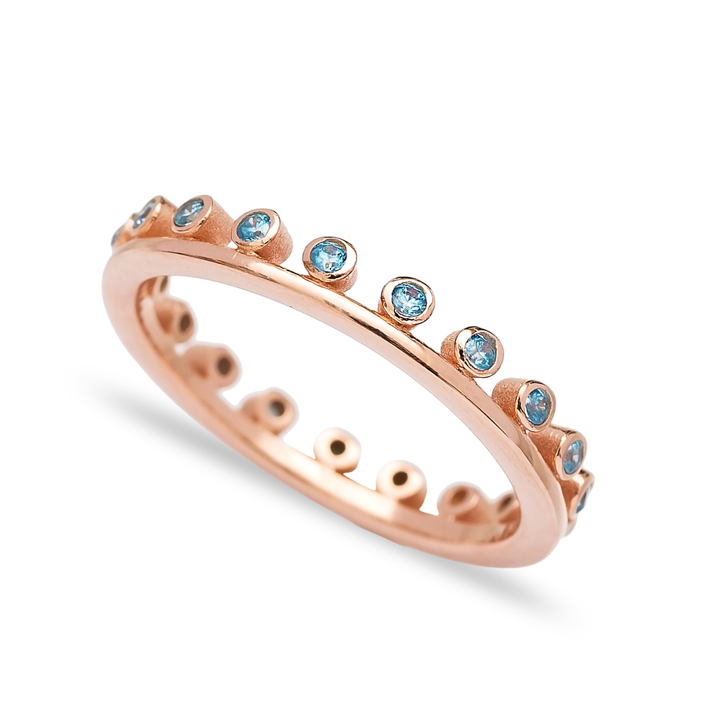 Band Ring Thin Design Blue Zircon Stone Wholesale Turkish 925 Sterling Silver Jewelry