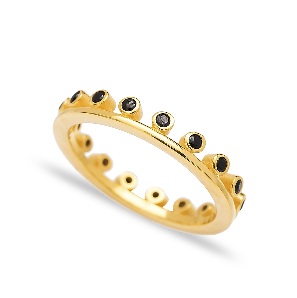 Black Stone Thin Band Ring Wholesale Turkish 925 Sterling Silver Jewelry