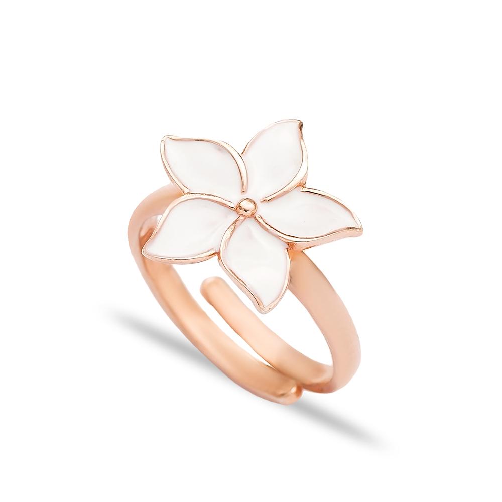 Silver Enamel Flower Design Adjustable Ring Wholesale Turkish Sterling Silver Jewelry