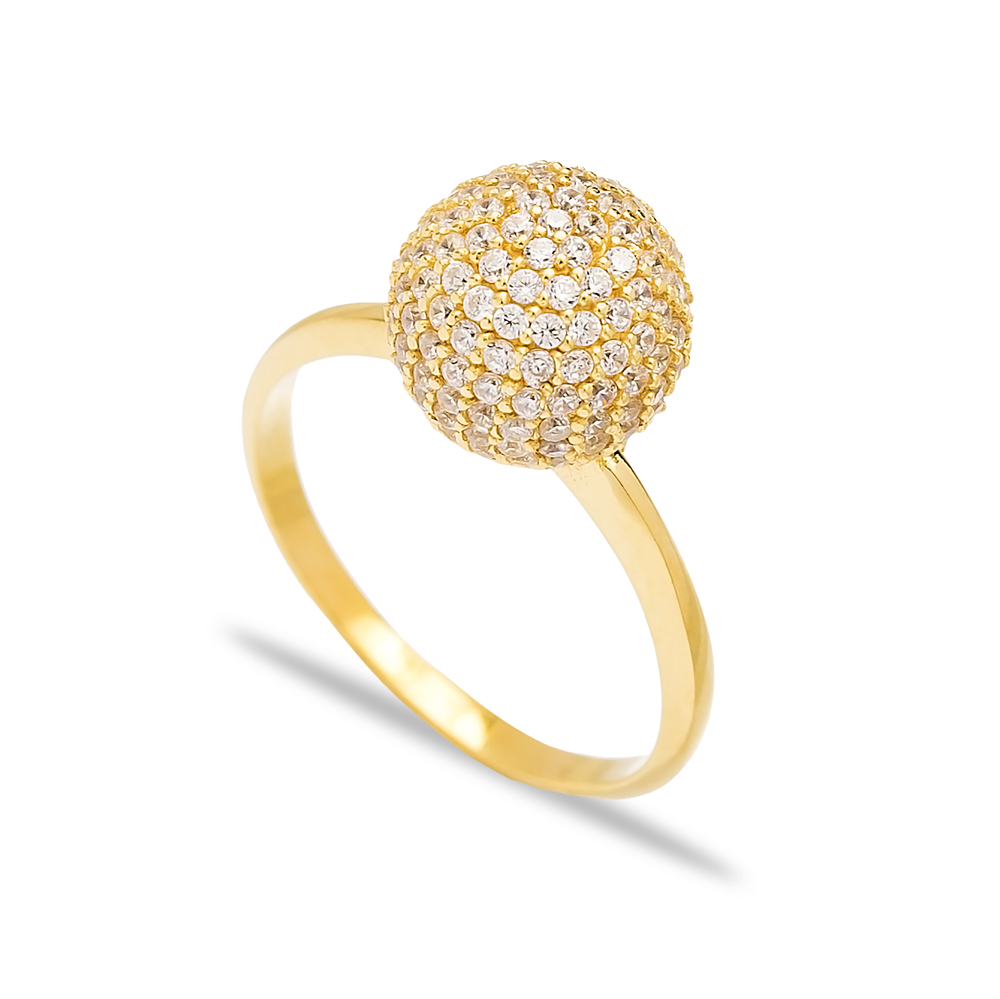Round Zircon Elegant Silver Cluster Ring Wholesale Turkish 925 Sterling Silver Jewelry