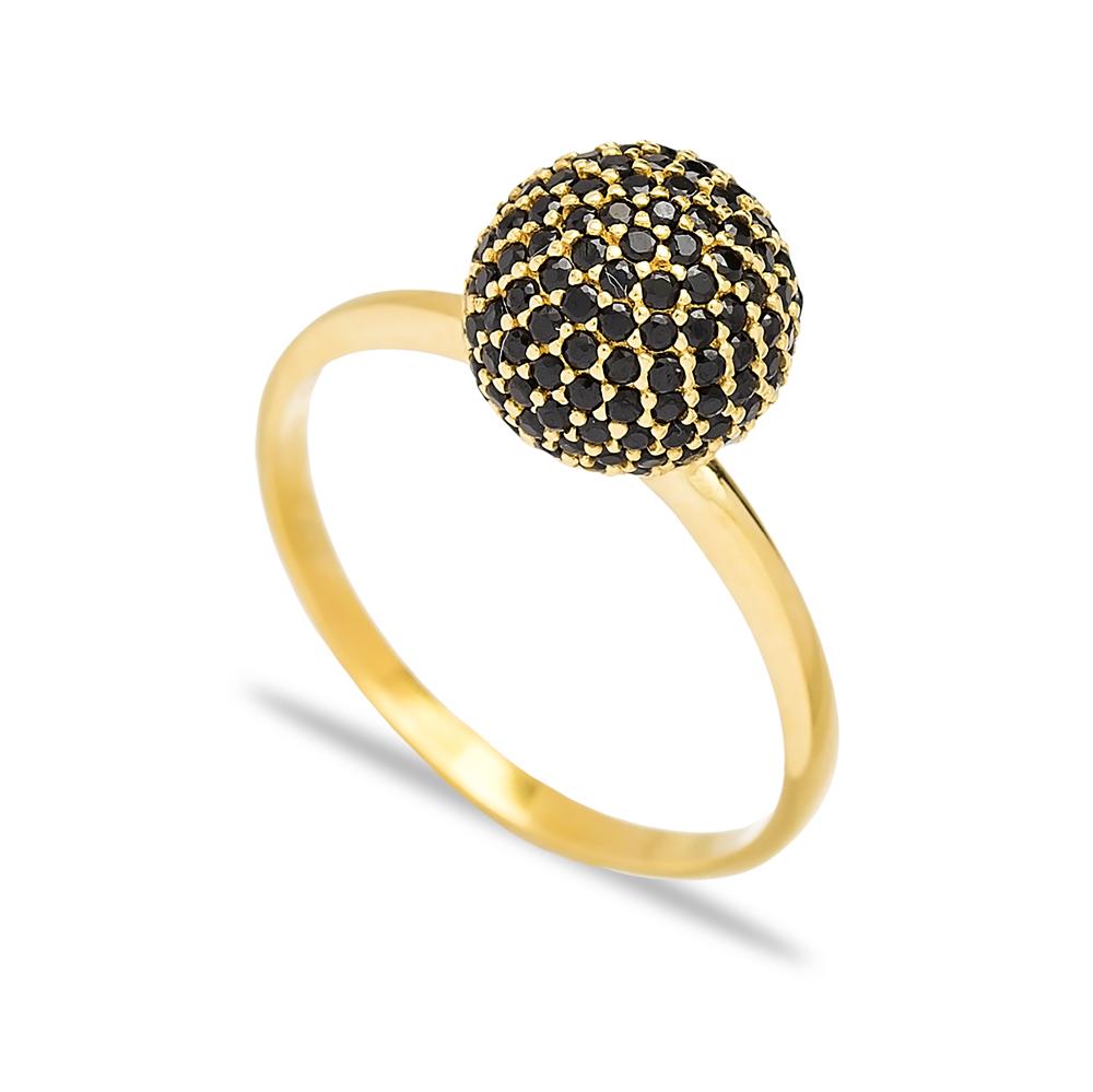 Round Black Zircon Elegant Silver Cluster Ring Wholesale Turkish 925 Sterling Silver Jewelry
