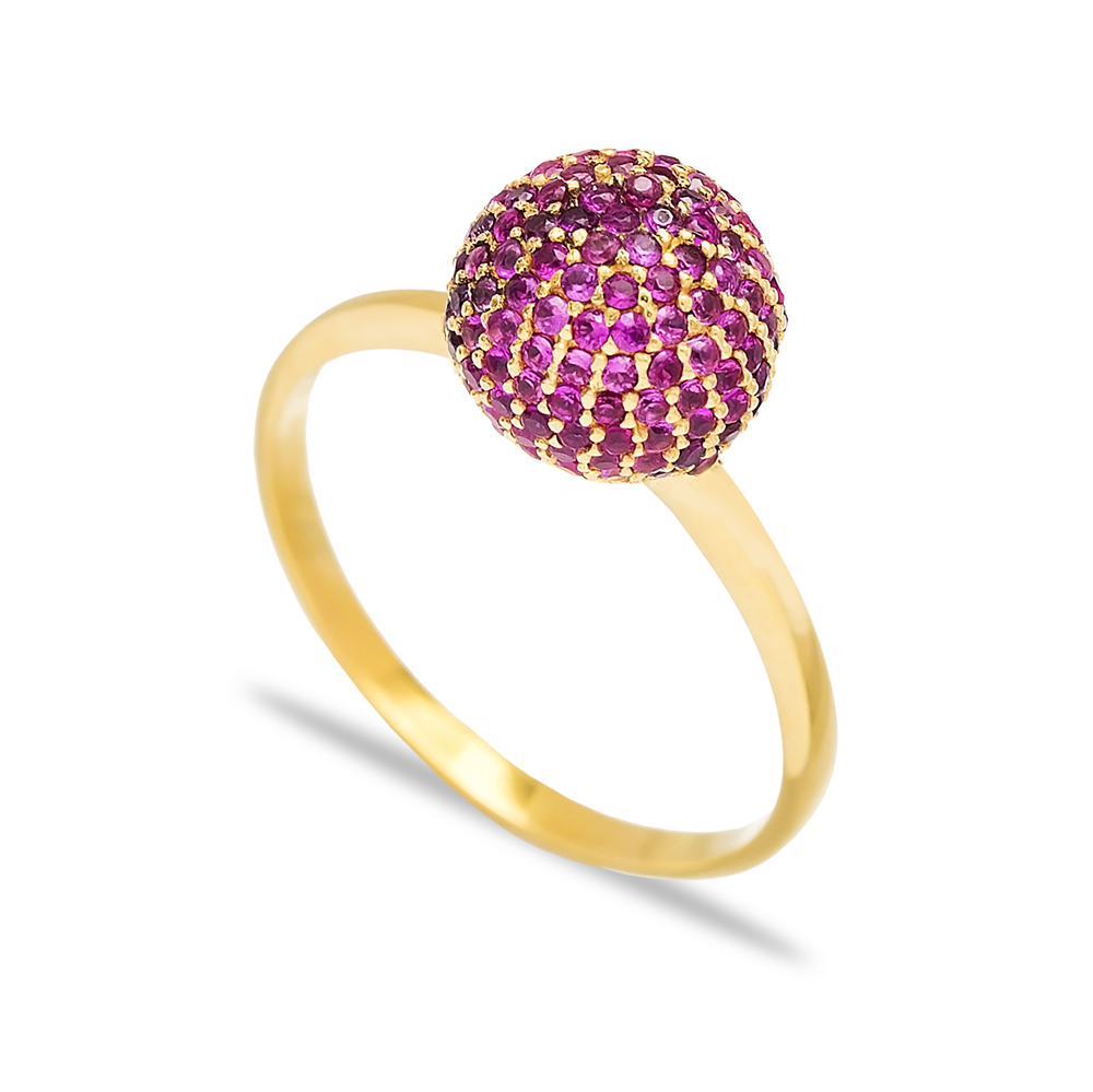 Round Ruby Stone Elegant Silver Cluster Ring Wholesale Turkish 925 Sterling Silver Jewelry