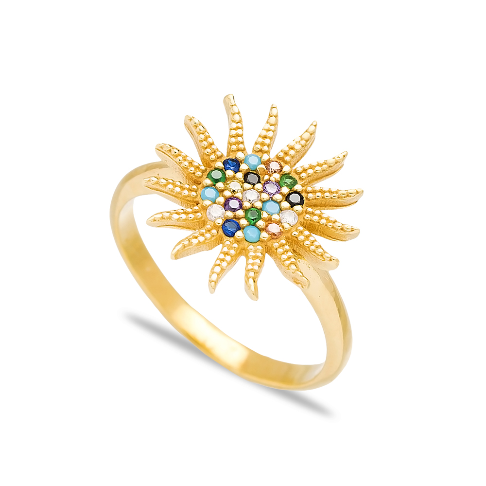 Sun Design Elegant Silver Cluster Ring Wholesale Turkish 925 Sterling Silver Jewelry