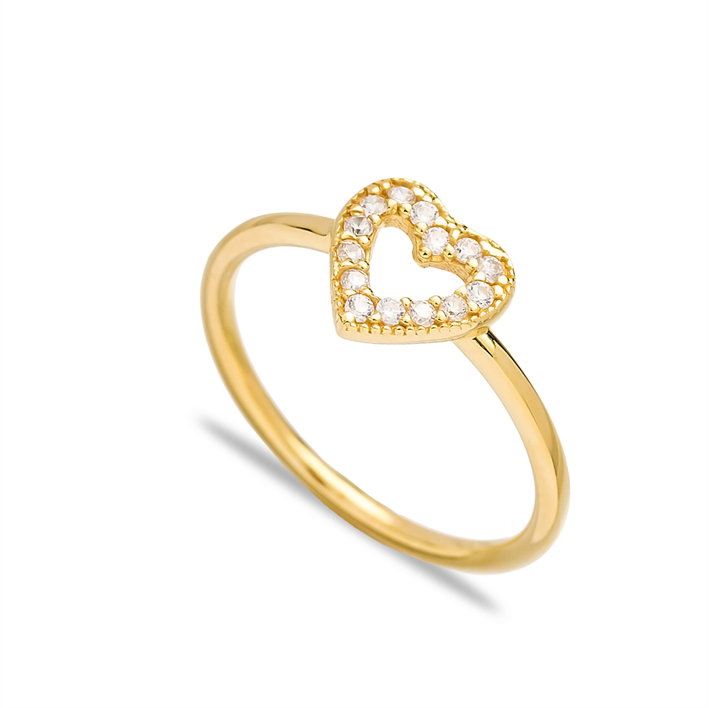 Elegant Heart Design Minimal Silver Cluster Ring Wholesale Turkish 925 Sterling Silver Jewelry