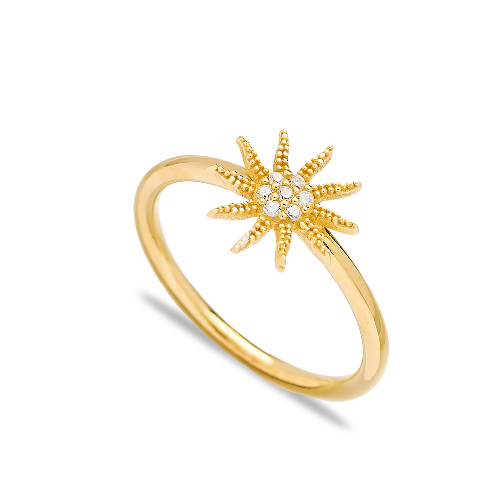 Sun Design Minimal Silver Cluster Ring Wholesale Turkish 925 Sterling Silver Jewelry