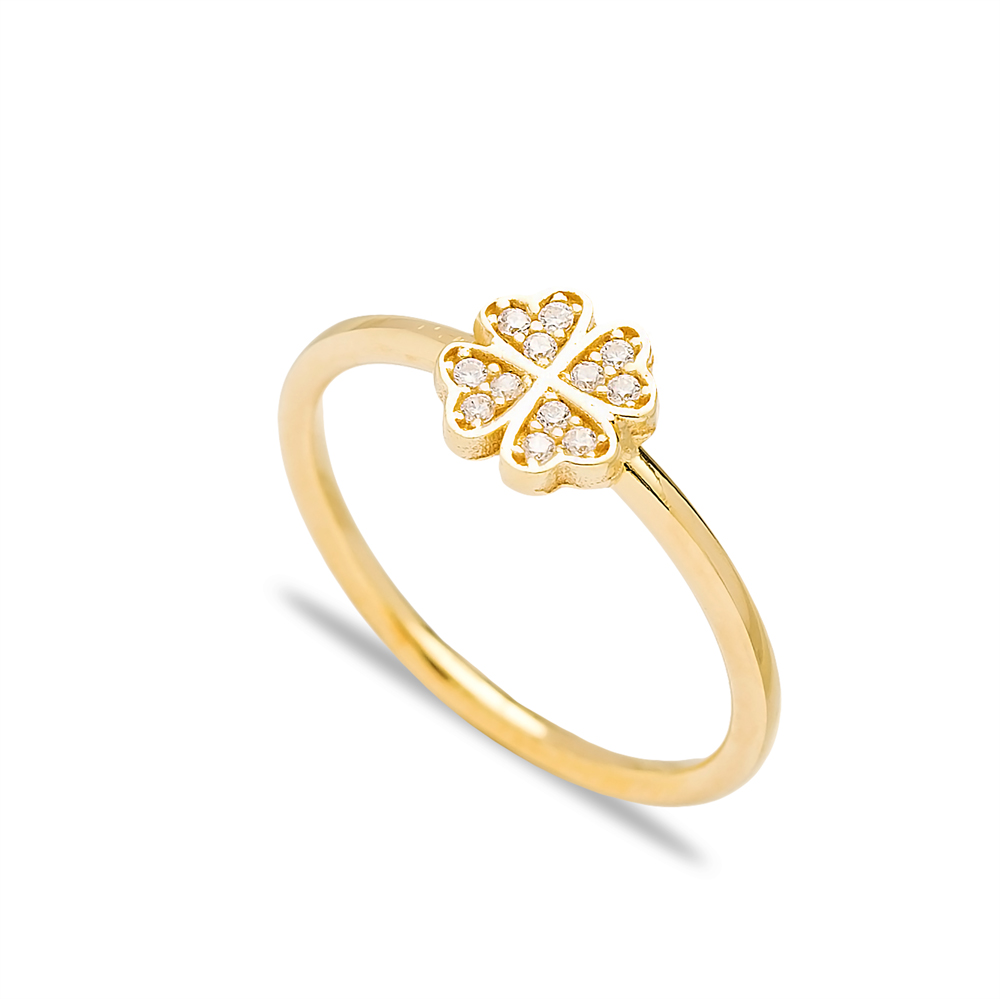 Four Leaf Clover Design Silver Cluster Ring Wholesale Turkish 925 Sterling Silver Jewelry