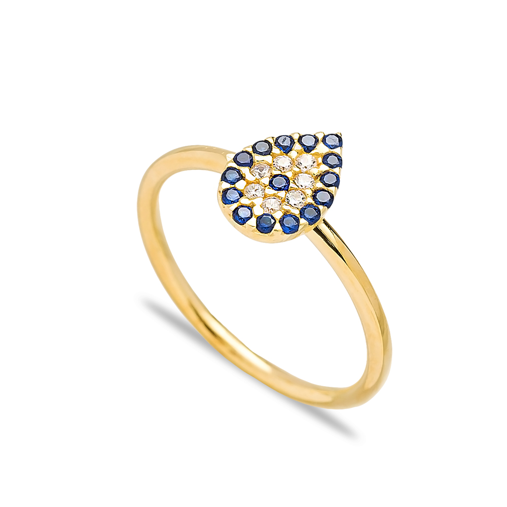 Sapphire Drop Design Silver Cluster Ring Wholesale Turkish 925 Sterling Silver Jewelry