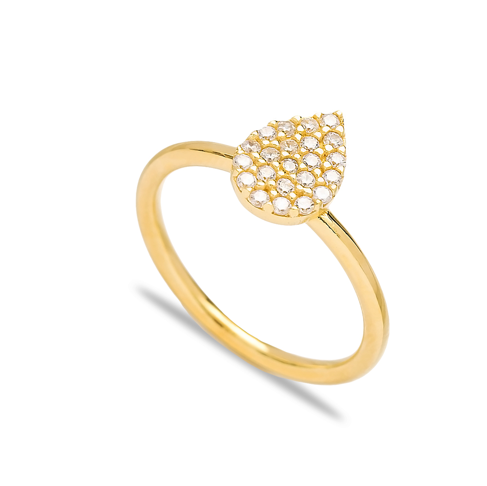 Drop Design Zircon Silver Cluster Ring Wholesale Turkish 925 Sterling Silver Jewelry