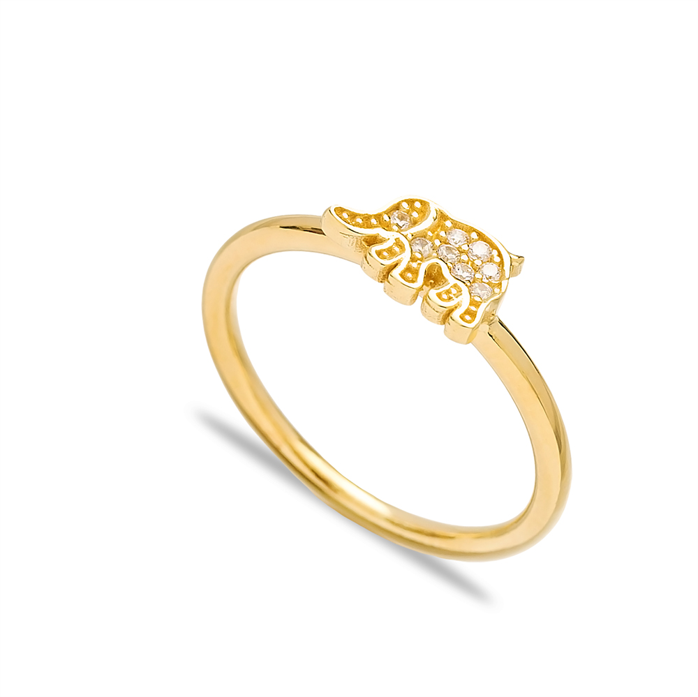 Elephant Design Zircon Elegant Cluster Ring Wholesale Turkish 925 Sterling Silver Jewelry