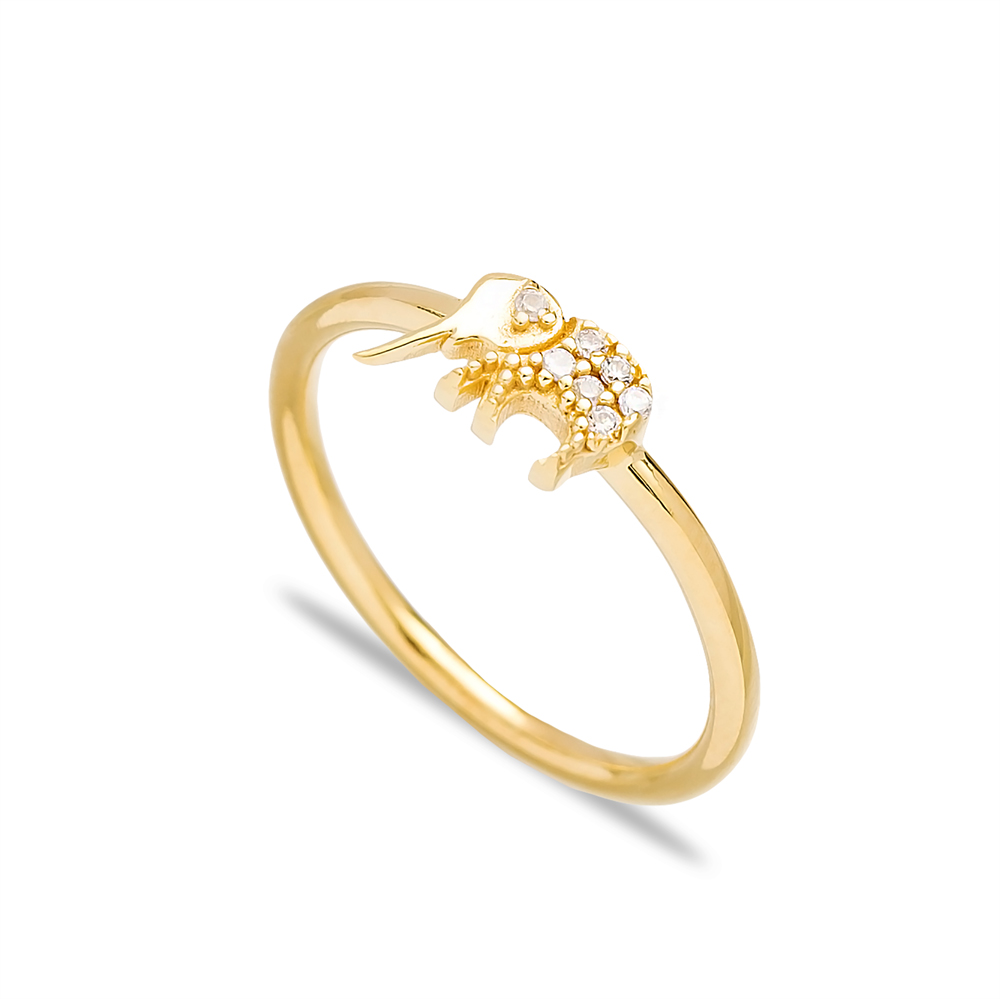 Elephant Design Minimal Zircon Cluster Ring Wholesale Turkish 925 Sterling Silver Jewelry