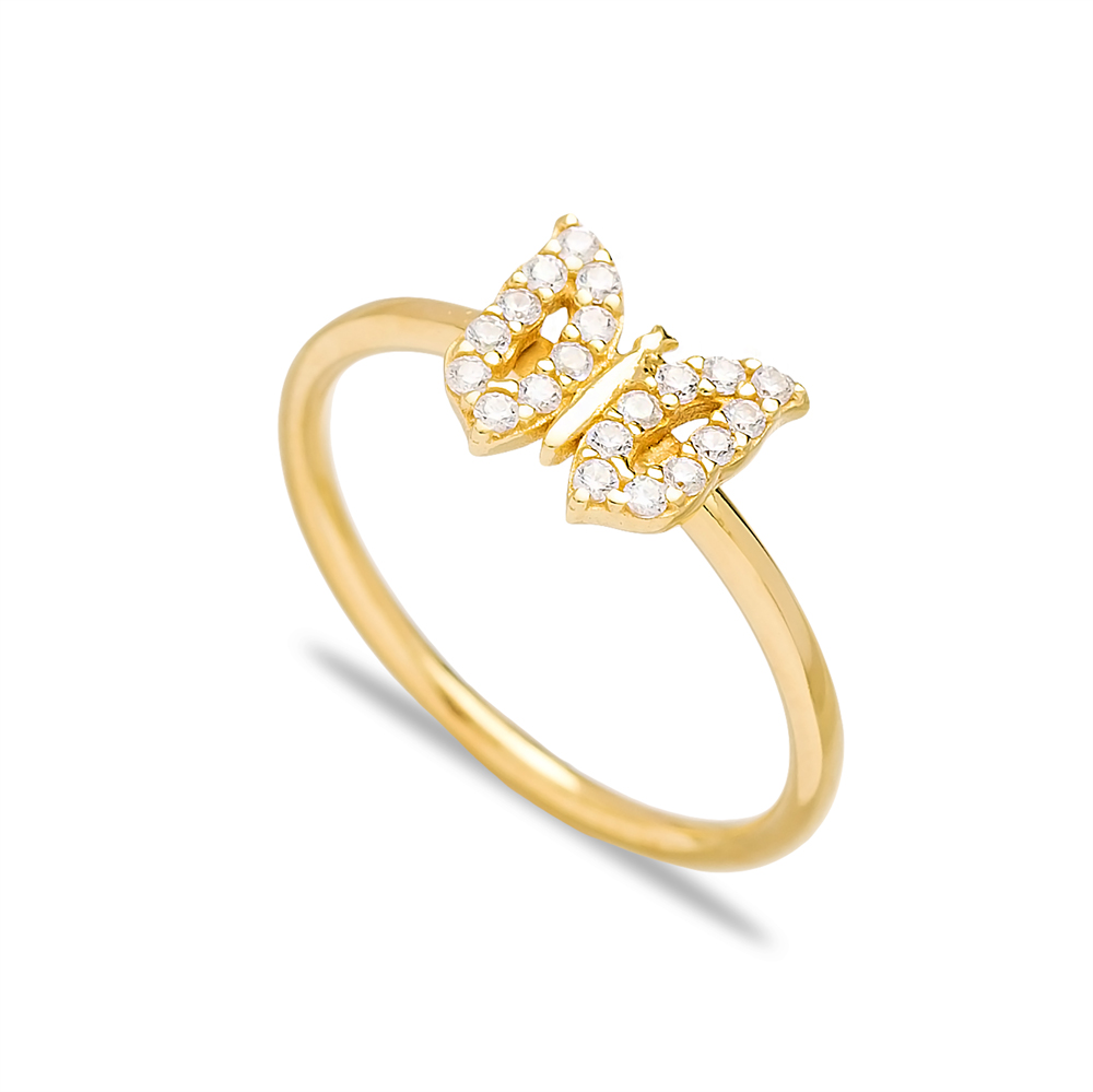 Butterfly Design Minimal Zircon Cluster Ring Wholesale Turkish 925 Sterling Silver Jewelry
