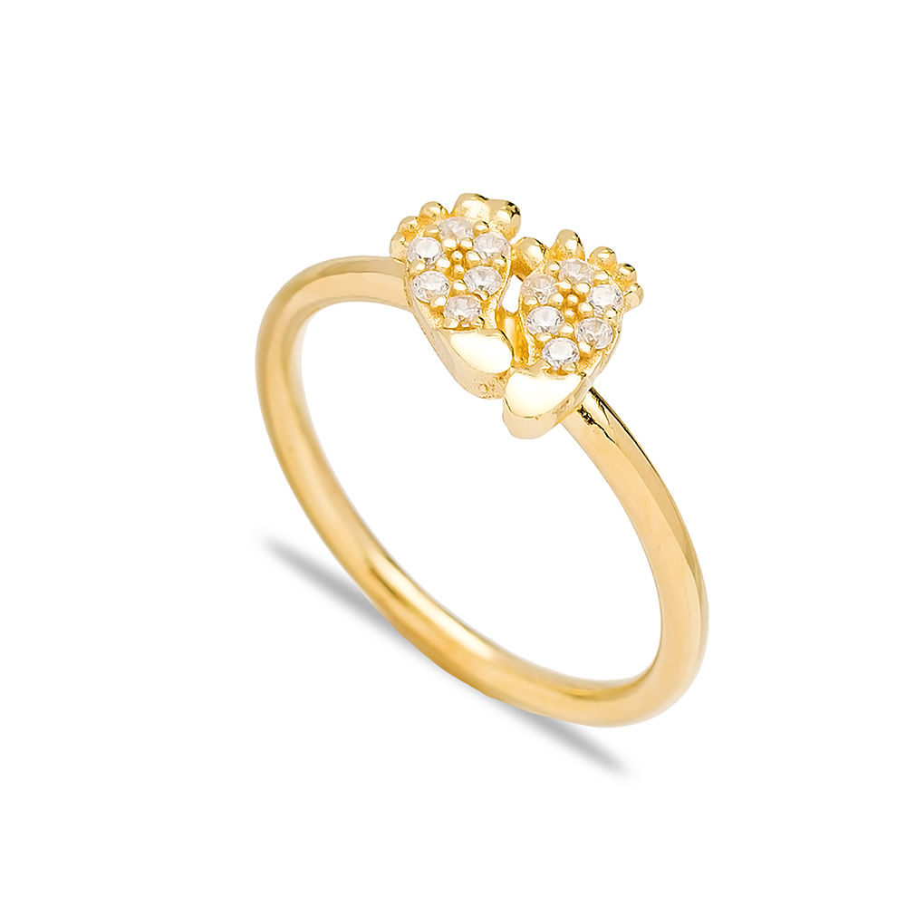Footprint Design Minimal Zircon Cluster Ring Wholesale Turkish 925 Sterling Silver Jewelry