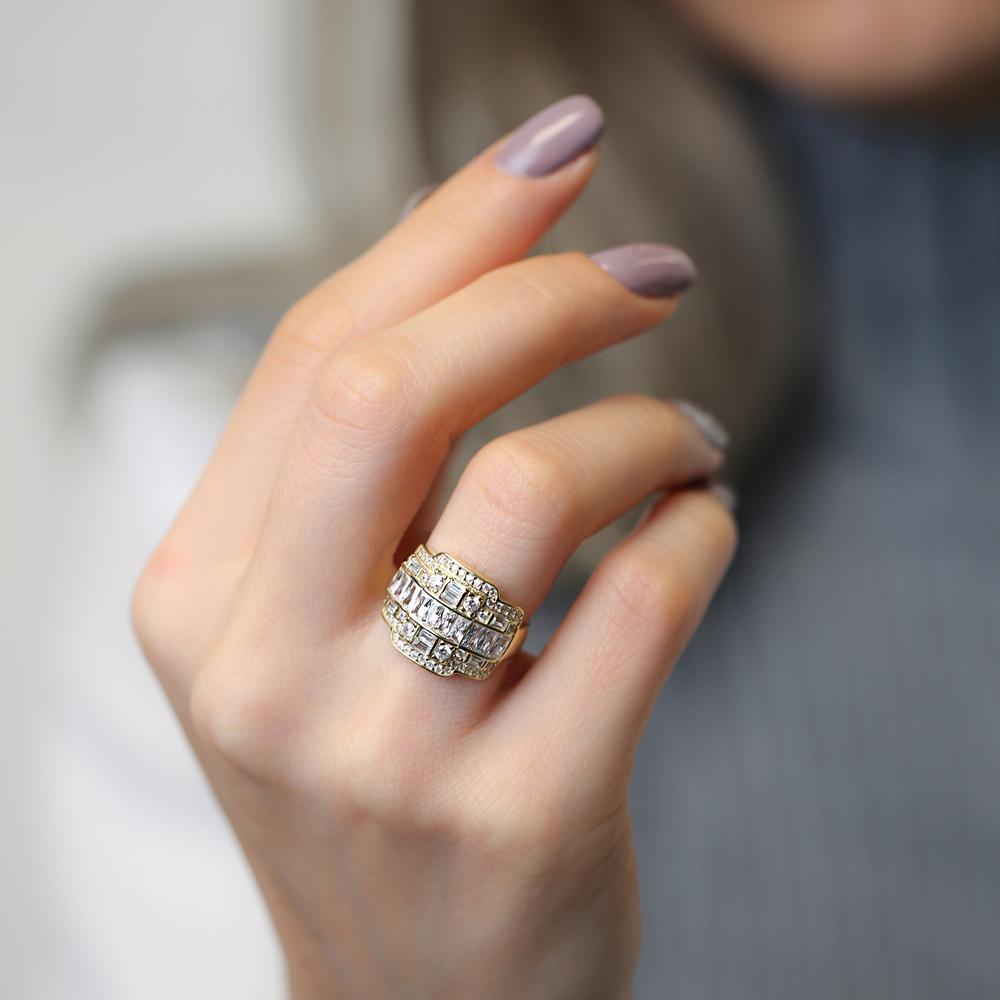 Baguette Stone Elegant Design Adjustable Ring Turkish Handmade Wholesale 925 Sterling Silver Jewelry