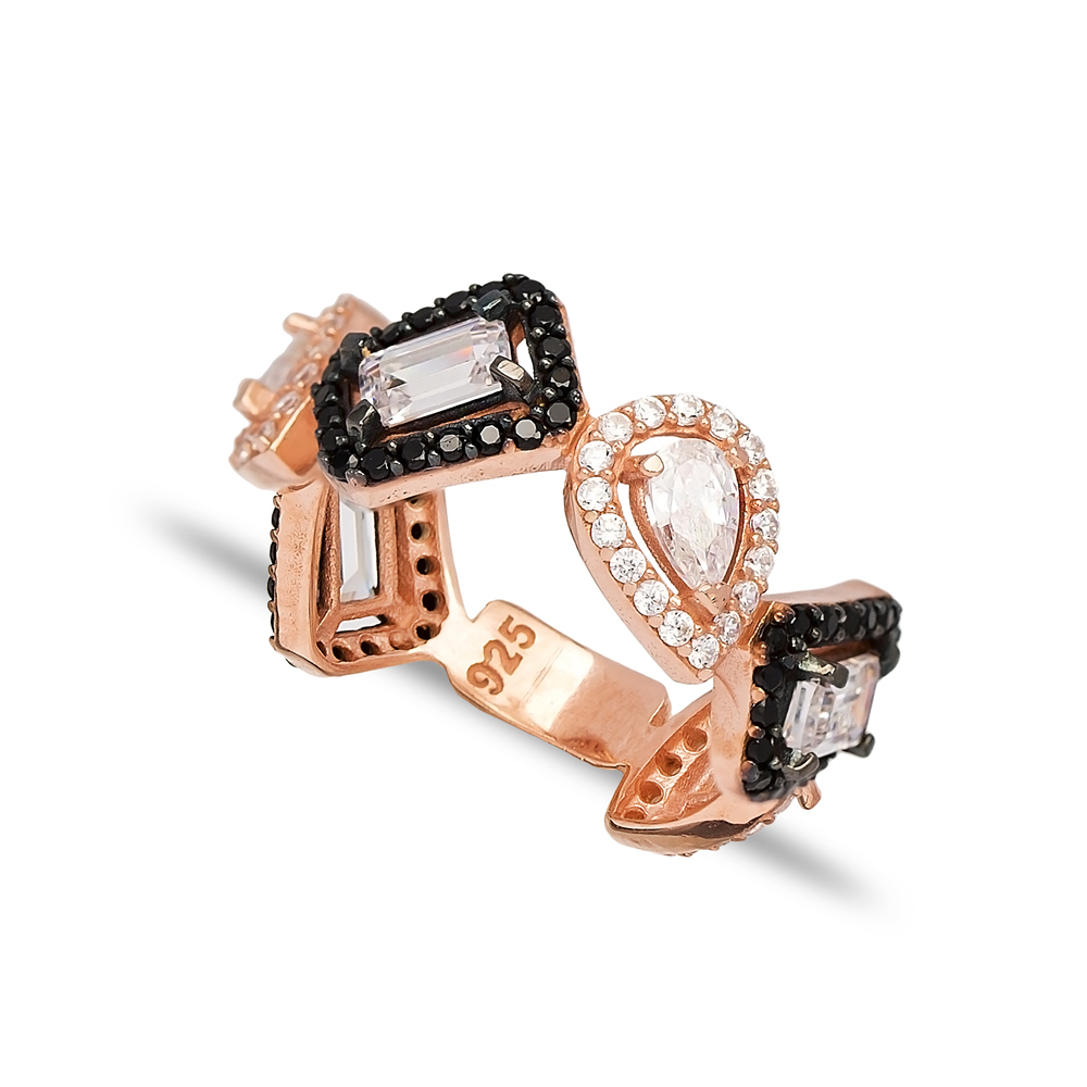 Black Zircon and CZ Stone Dainty Design Ring Wholesale 925 Sterling Silver Jewelry
