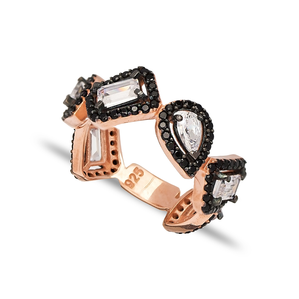 Dainty Design Black Zircon and CZ Stone Ring Turkish 925 Sterling Silver Jewelry