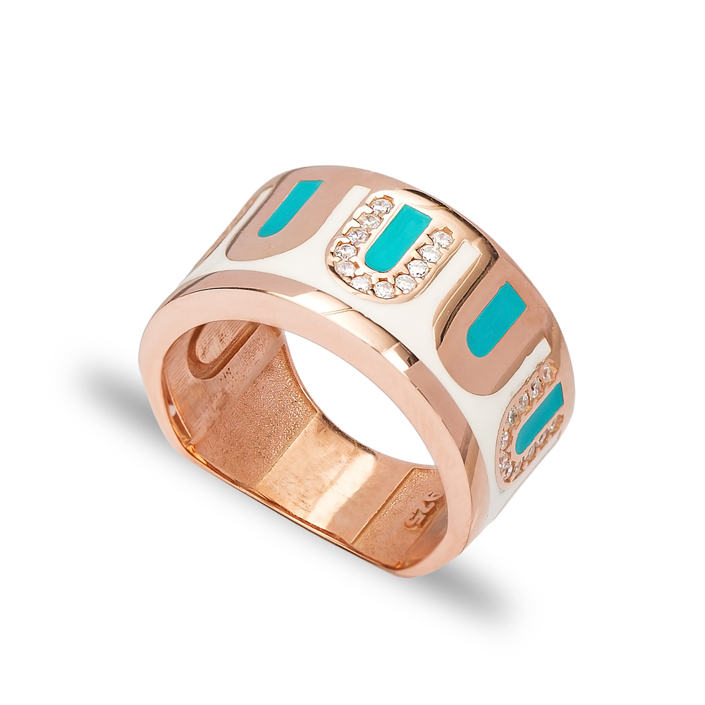 Elegant Enamel Design CZ Ring Wholesale Handcrafted 925 Sterling Silver Jewelry