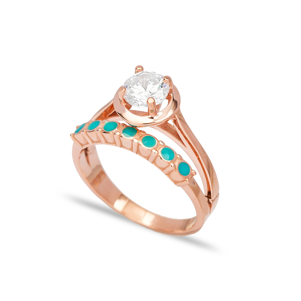 Minimal Enamel Design CZ Stone Engagement Ring Wholesale 925 Sterling Silver Jewelry
