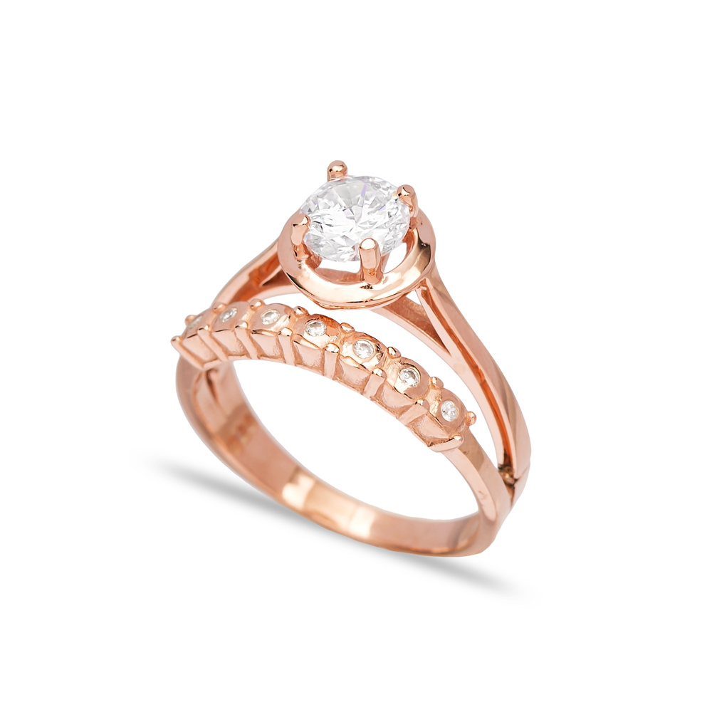 Zircon Stone Band Design Engagement Ring Wholesale 925 Sterling Silver Jewelry