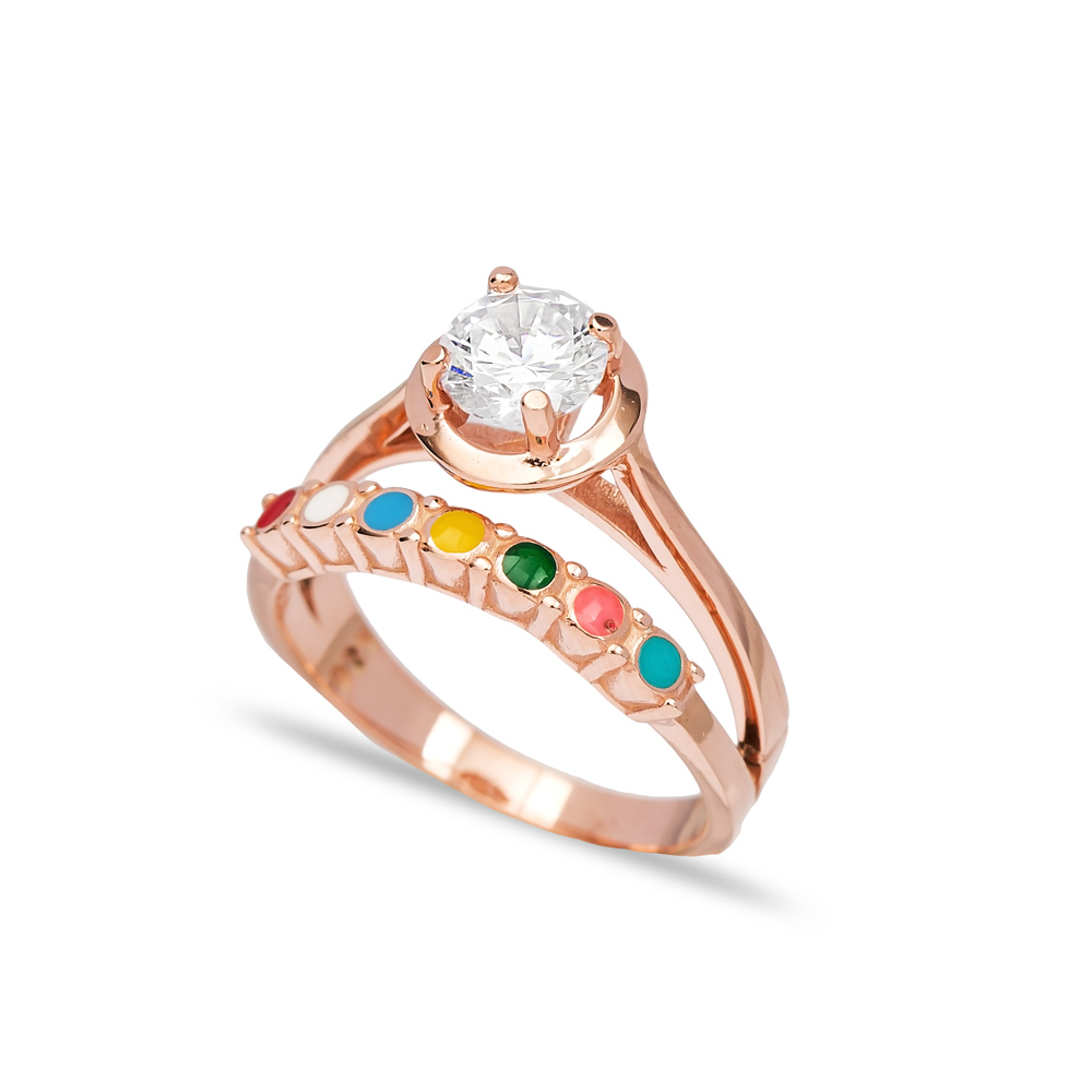 Colorful Enamel Design CZ Stone Engagement Ring Wholesale 925 Sterling Silver Jewelry
