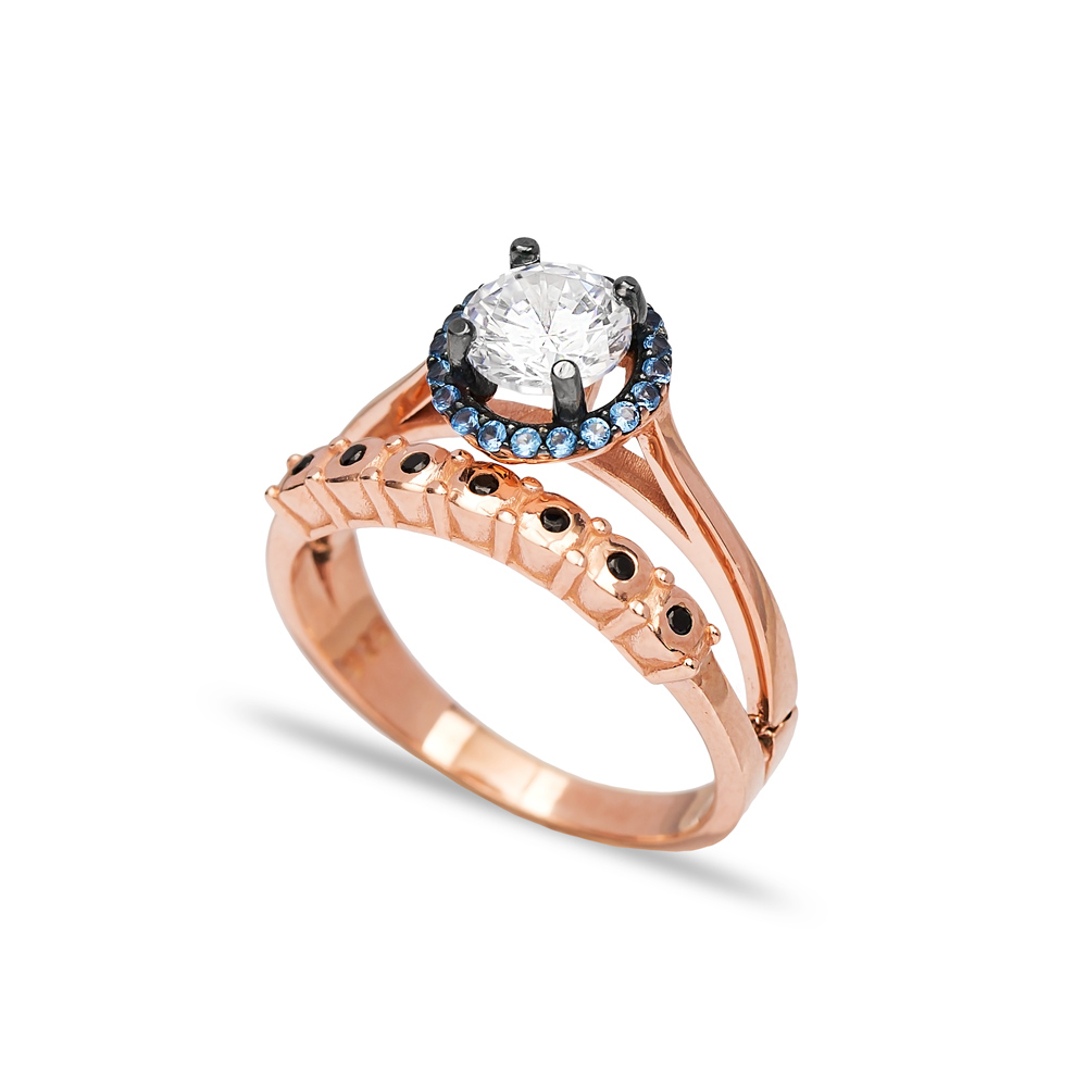 Unique Design CZ Stone Ring Wholesale Turkish 925 Sterling Silver Jewelry