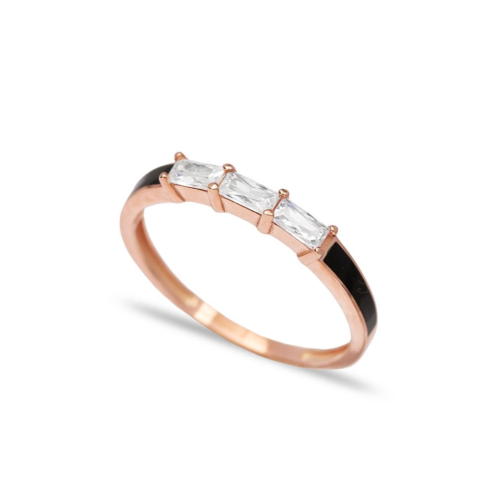Baguette Black Enamel Band Ring Wholesale Turkish 925 Sterling Silver Jewelry