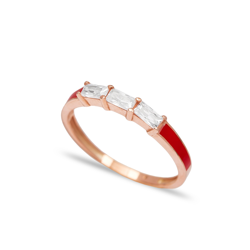 Baguette Red Enamel Band Ring Wholesale Turkish 925 Sterling Silver Jewelry