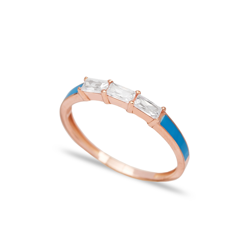 Blue Enamel Baguette Band Ring Wholesale Turkish 925 Sterling Silver Jewelry
