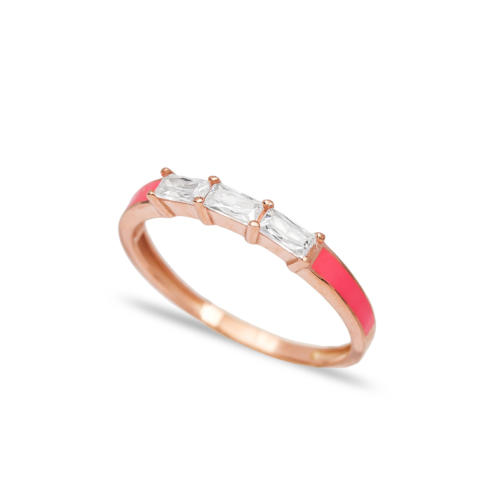 Pink Enamel Baguette Band Ring Wholesale Turkish 925 Sterling Silver Jewelry