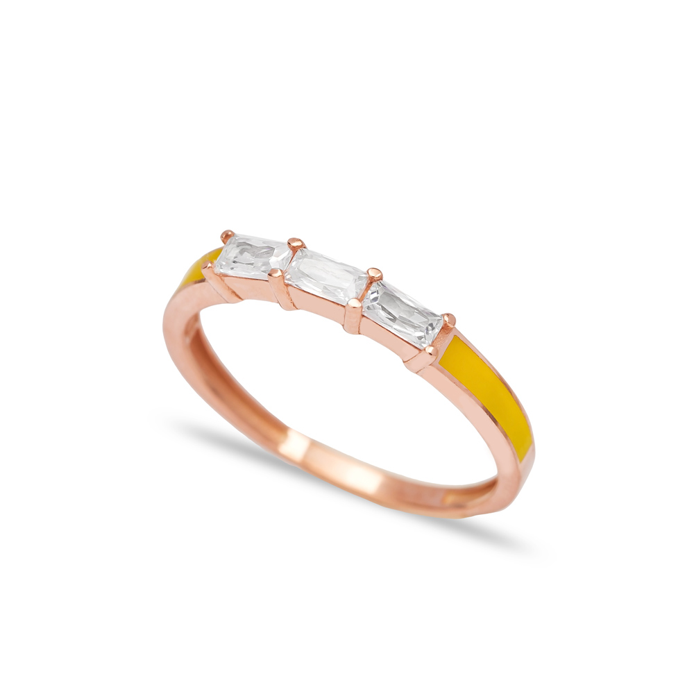 Yellow Enamel Baguette Band Ring Wholesale Turkish 925 Sterling Silver Jewelry