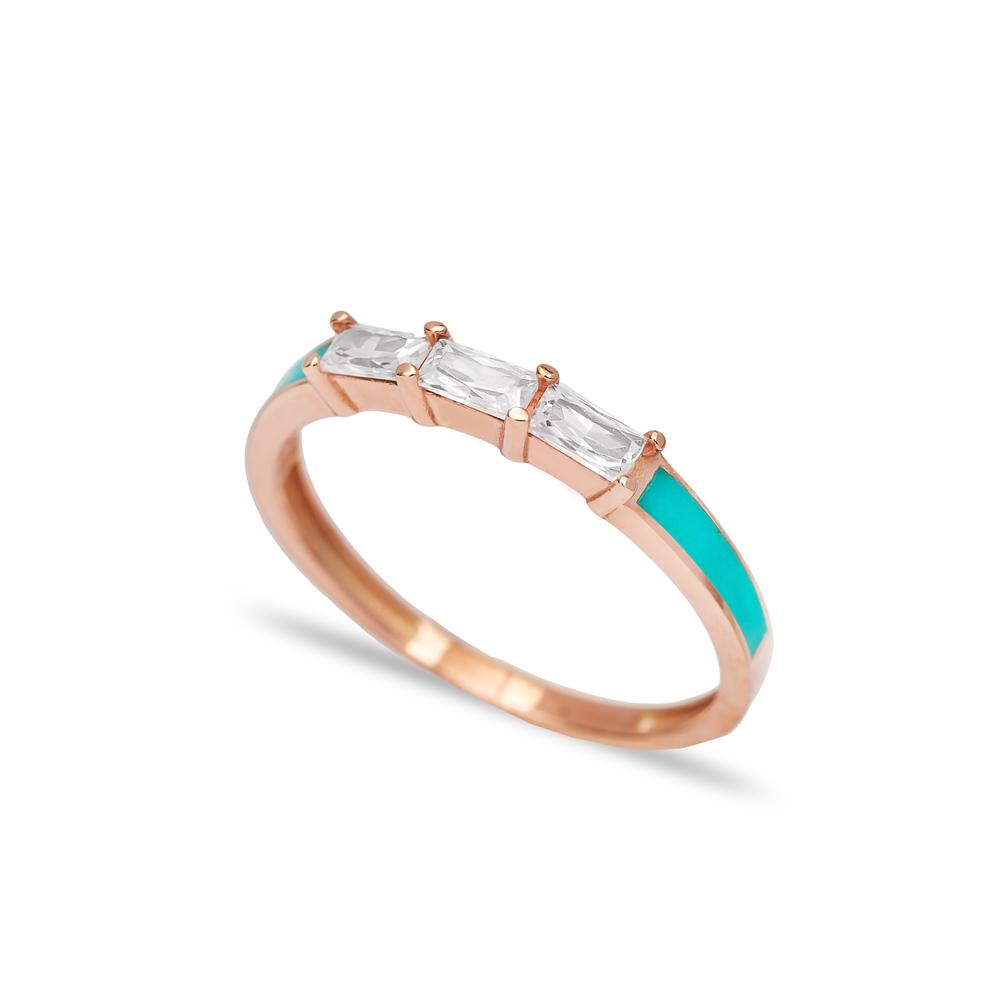 Enamel Baguette Band Ring Handmade Turkish 925 Sterling Silver Jewelry