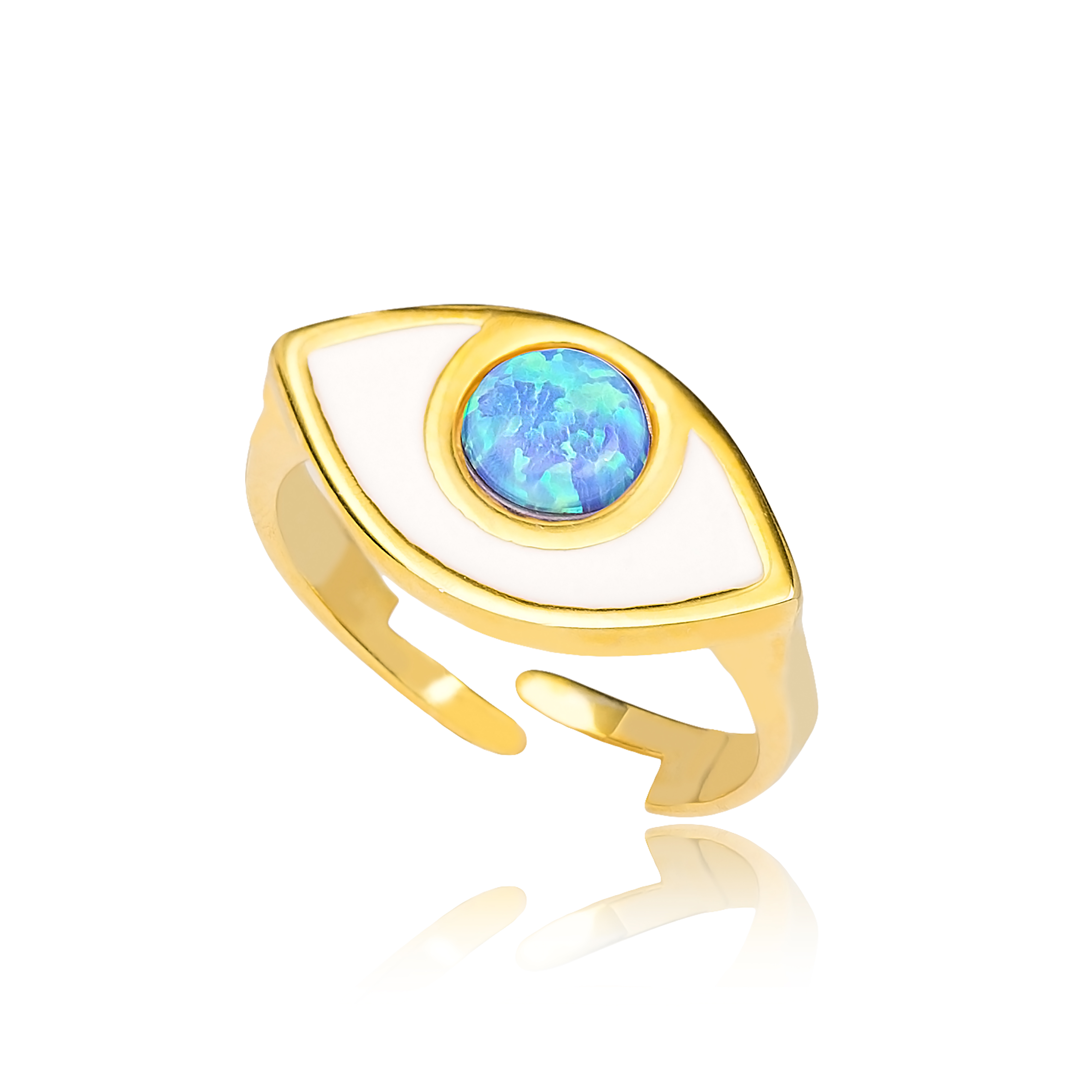 Blue Opal Evil Eye Adjustable Ring Turkish Wholesale Handcrafted 925 Sterling Silver Jewelry