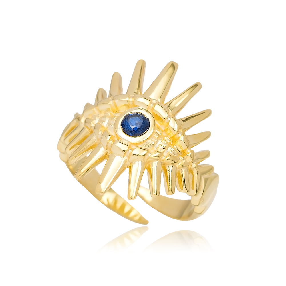 Trendy Evil Eye Design Adjustable Ring Turkish Wholesale 925 Sterling Silver Jewelry