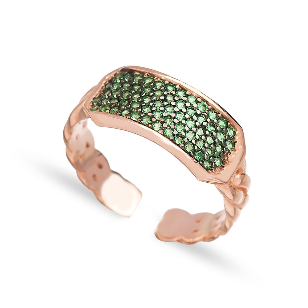 Emerald Stone Dainty Design Adjustable Ring Turkish Wholesale Handcrafted 925 Silver Jewelry