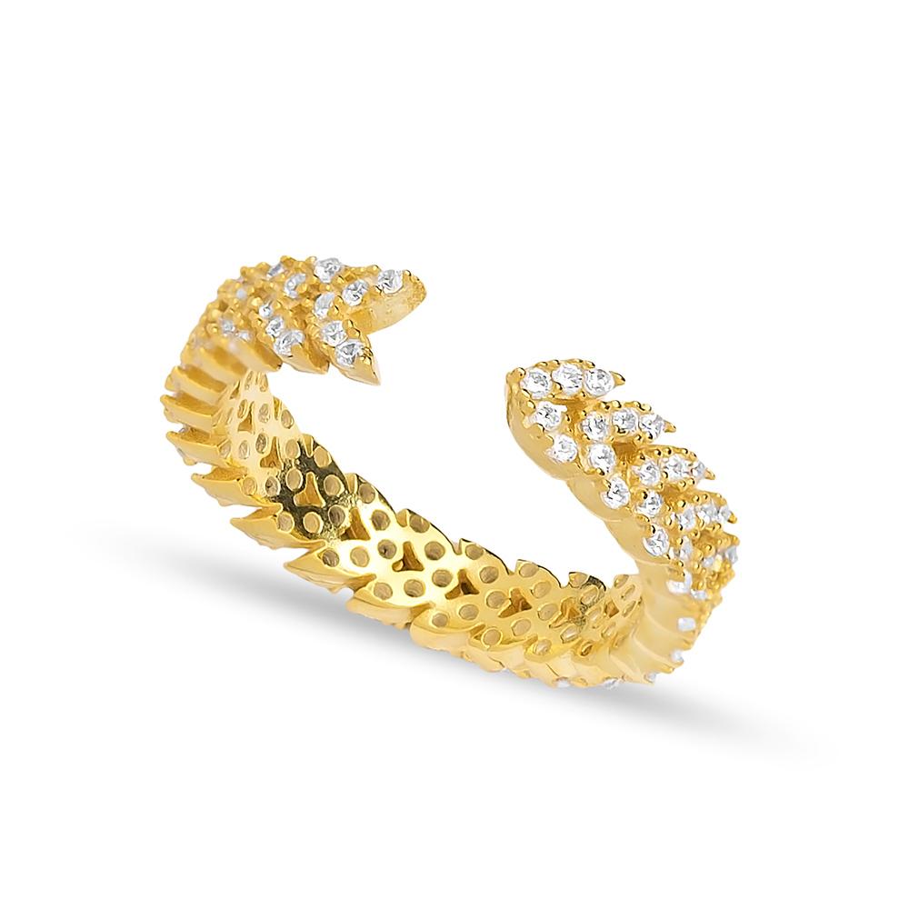 Zircon Stone Trendy Design Adjustable Ring Turkish Wholesale Handcrafted 925 Silver Jewelry