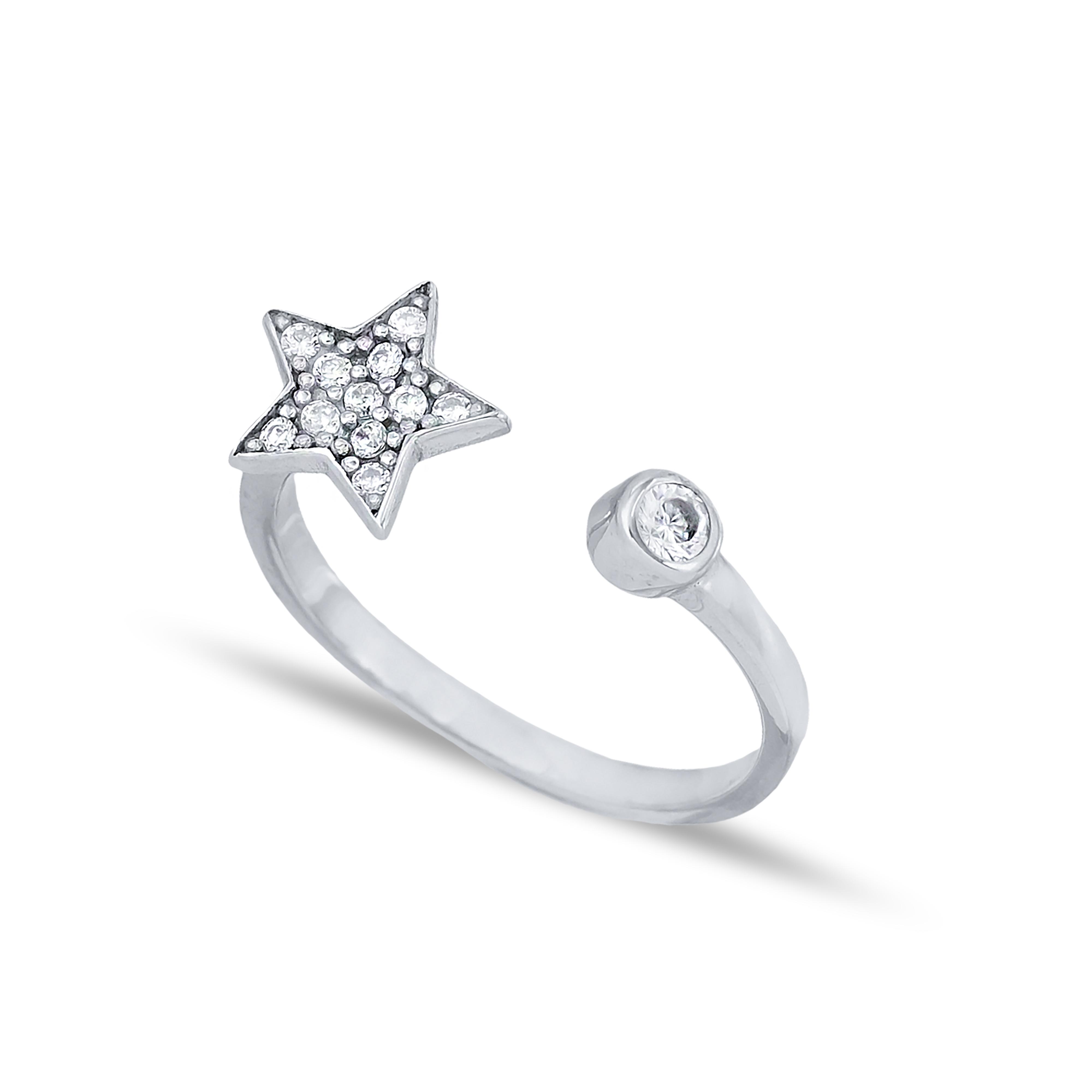 Star Design Zircon Stone Adjustable Ring Turkish Wholesale Handcrafted 925 Silver Jewelry