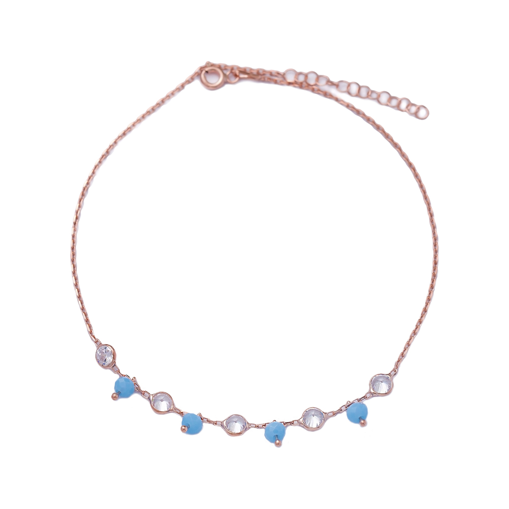 Elegant Turquoise Beaded Turkish Wholesale Handcrafted Silver Anklet