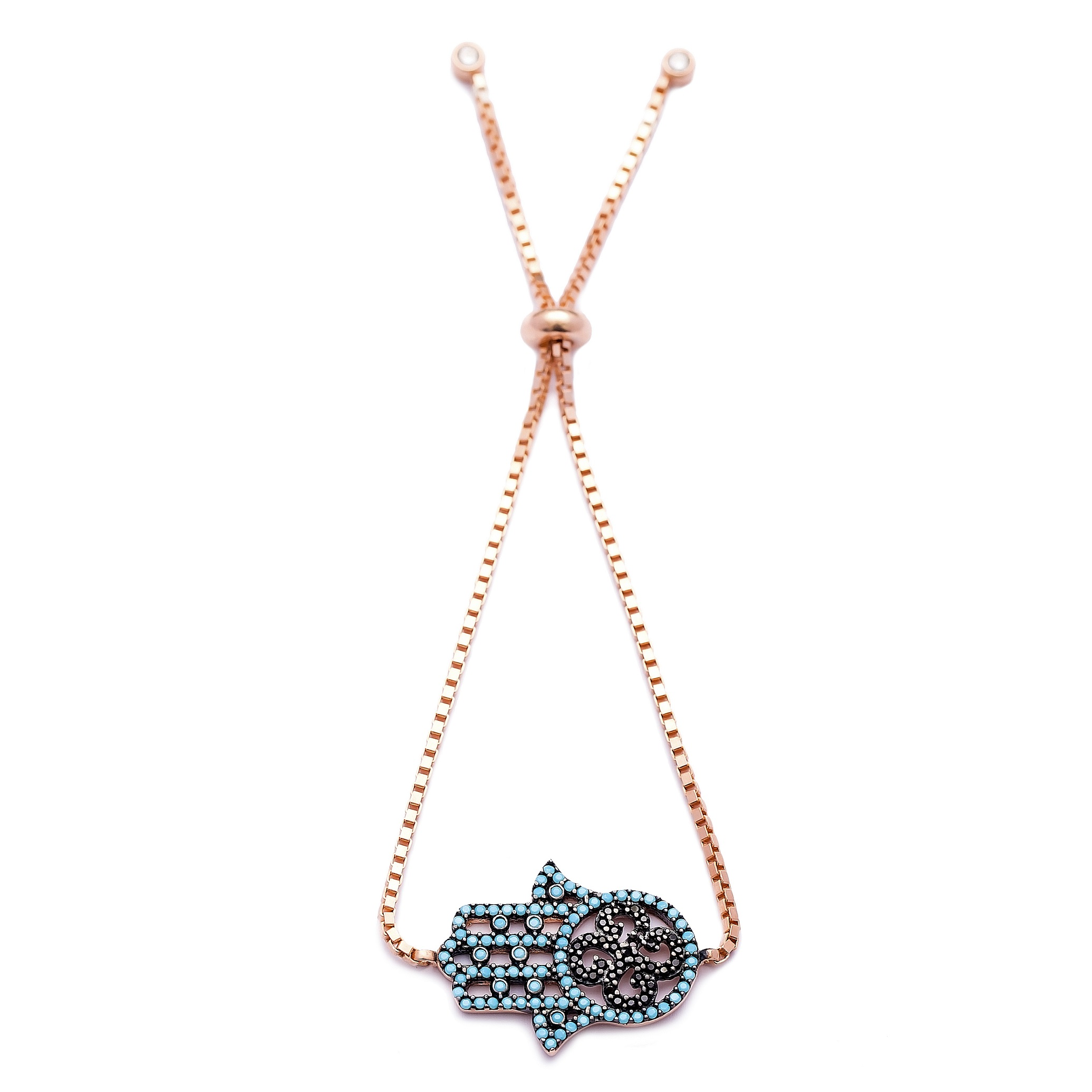 Hamsa Design Handmade Turkish Wholesale Adjustable Tennis Silver Bracelet
