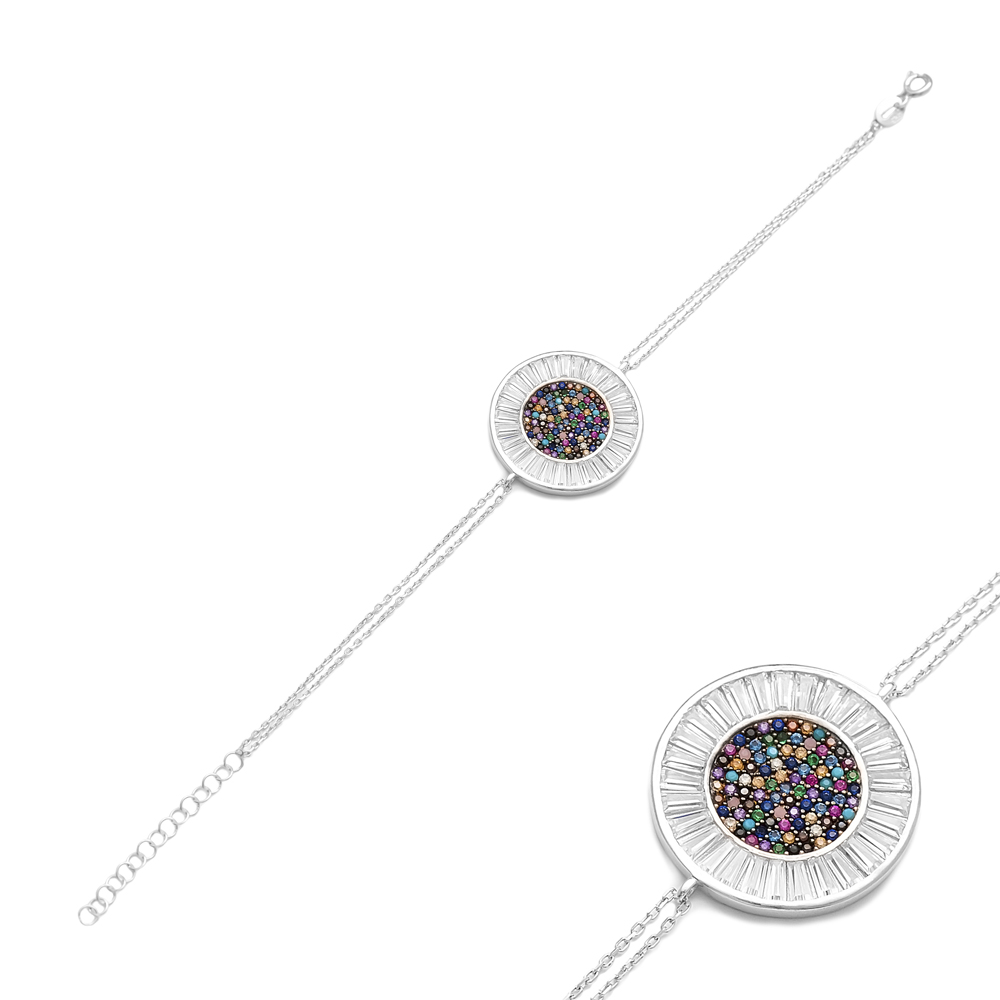 Rainbow Round Silver Sterling Bracelet Wholesale Handcraft Jewelry