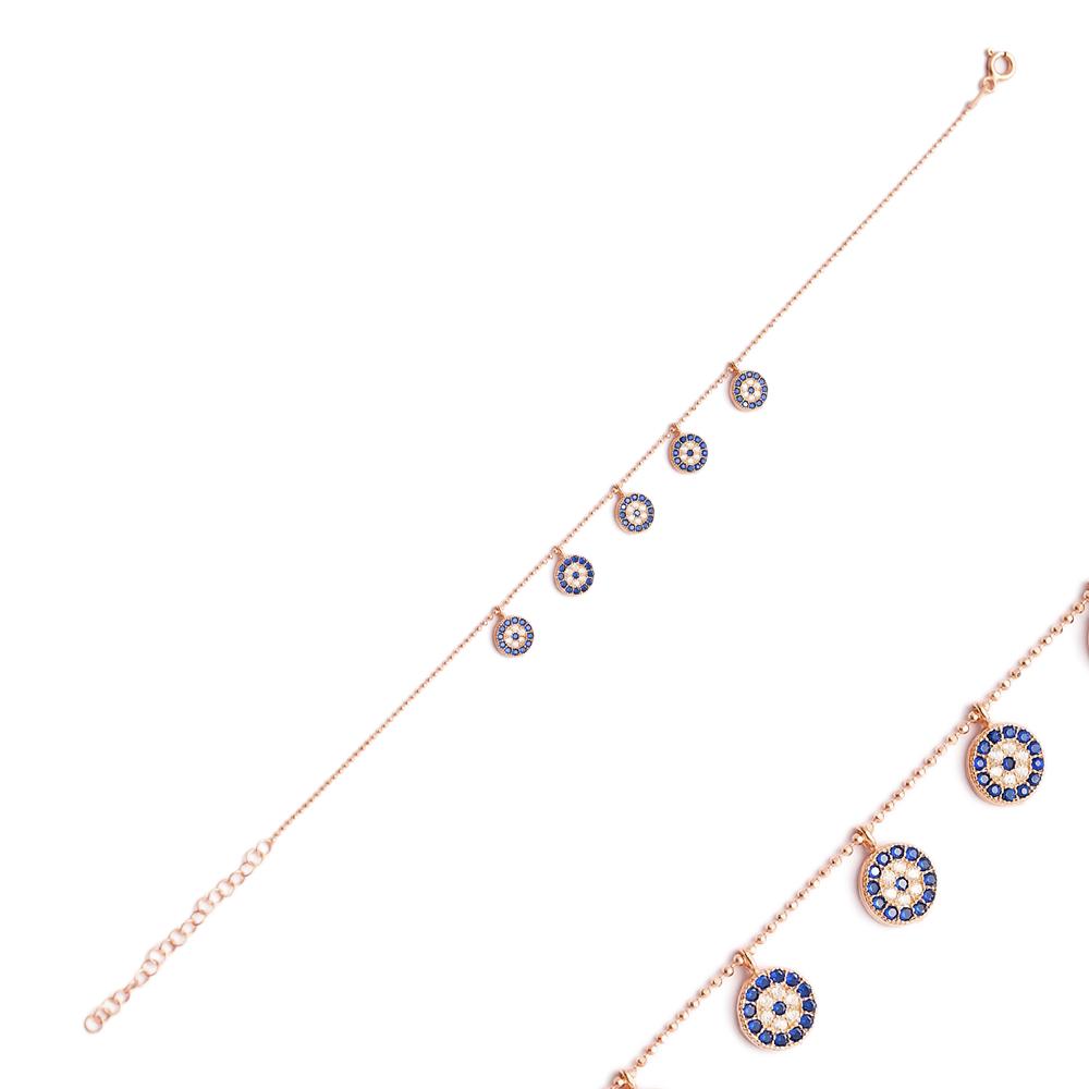 Minimalist Silver Sterling Evil Eye Charm Bracelet Wholesale Handcrafted Jewelry