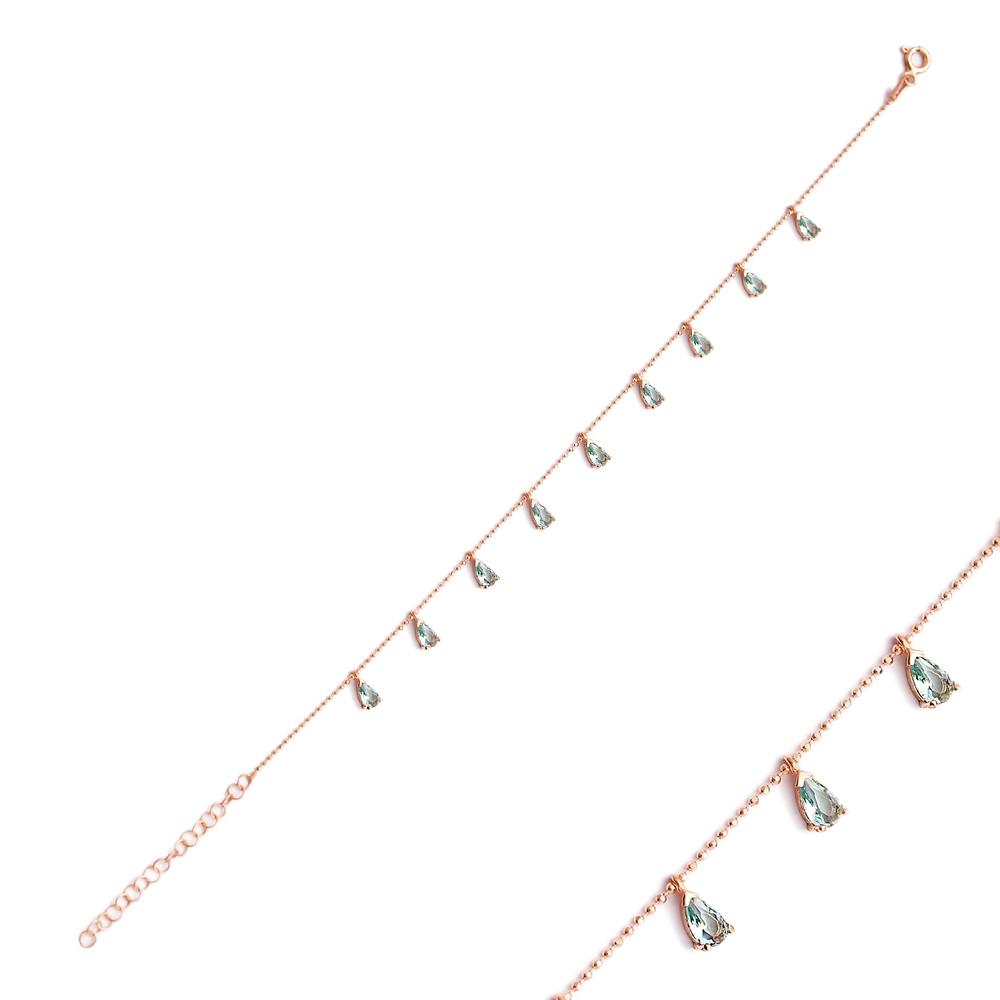 Minimalist Silver Sterling Aquamarine Charm Bracelet Wholesale Handcrafted Jewelry