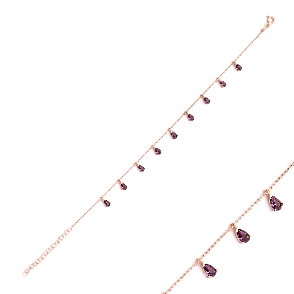 Minimalist Silver Sterling Pear Shape Amethyst Charm Bracelet Wholesale Handcrafted Jewelry