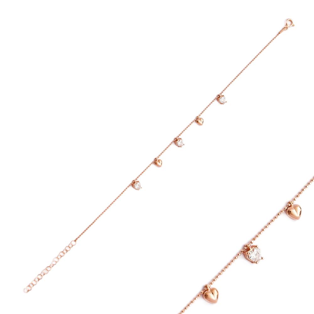 Minimalist Silver Sterling Heart Charm Bracelet Wholesale Handcrafted Jewelry