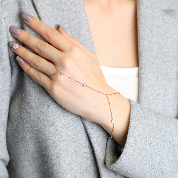 Dainty Zircon Stone Slave Bracelet Wholesale Turkish 925 Sterling Silver Jewelry