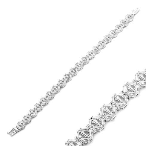 Sterling Silver Wholesale Handcraft Baguette Stone Design Bracelet