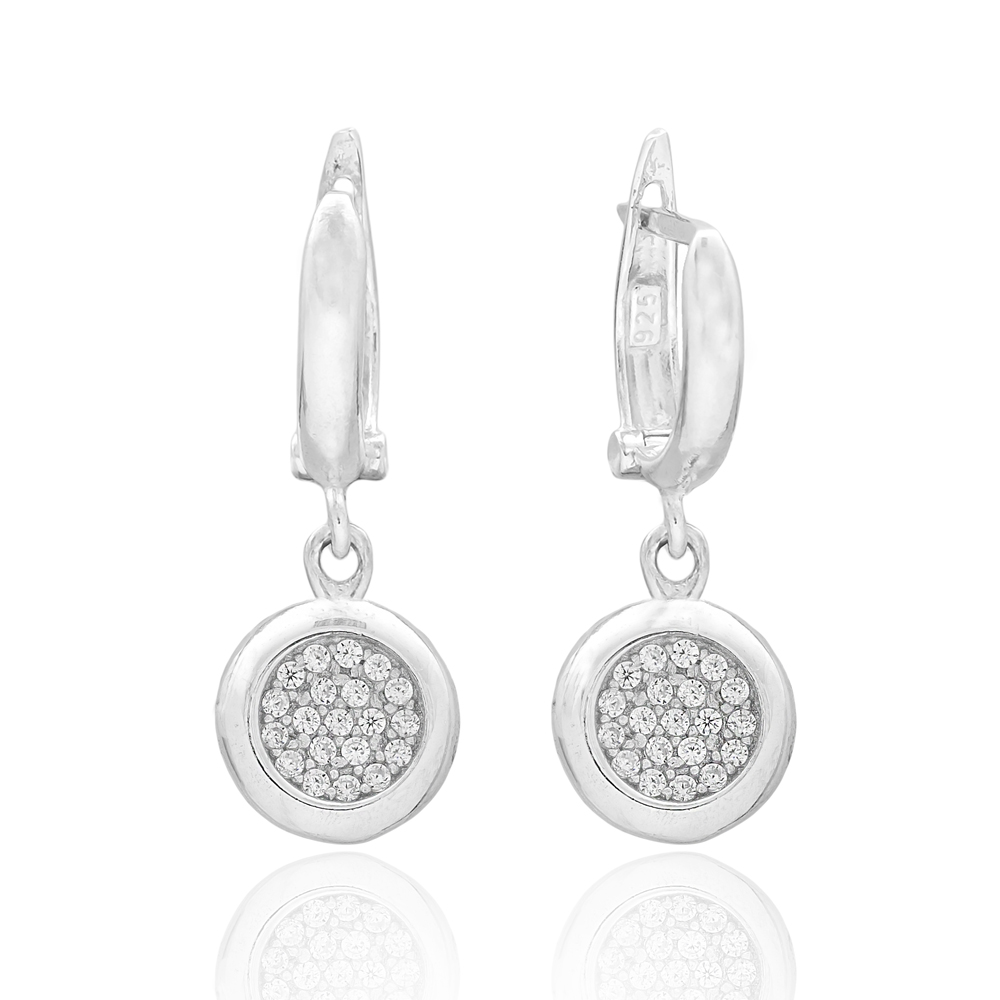 Simple Round Design Turkish Wholesale 925 Sterling Silver Jewelry Earring