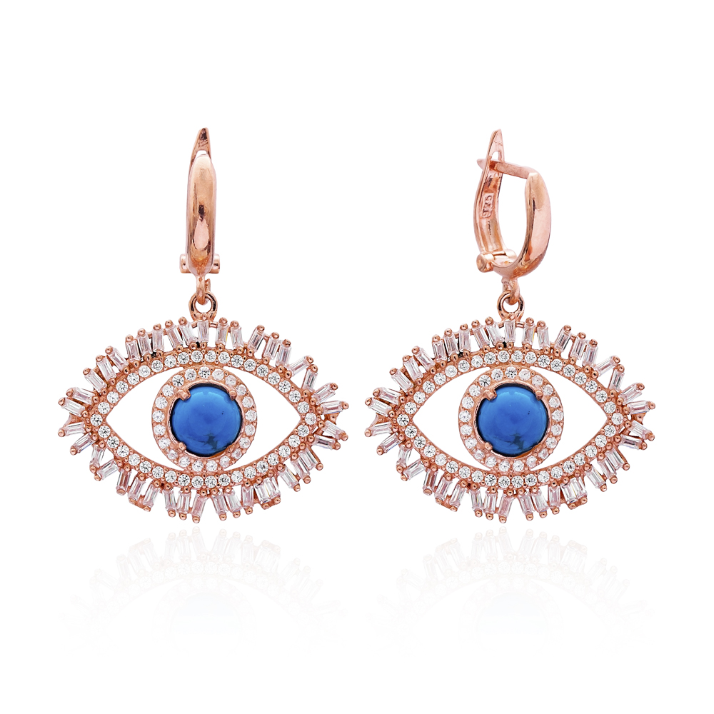 Evil Eye Baguette Zircon Handmade Sterling Silver  Wholesale Handcrafted Dangle Earring