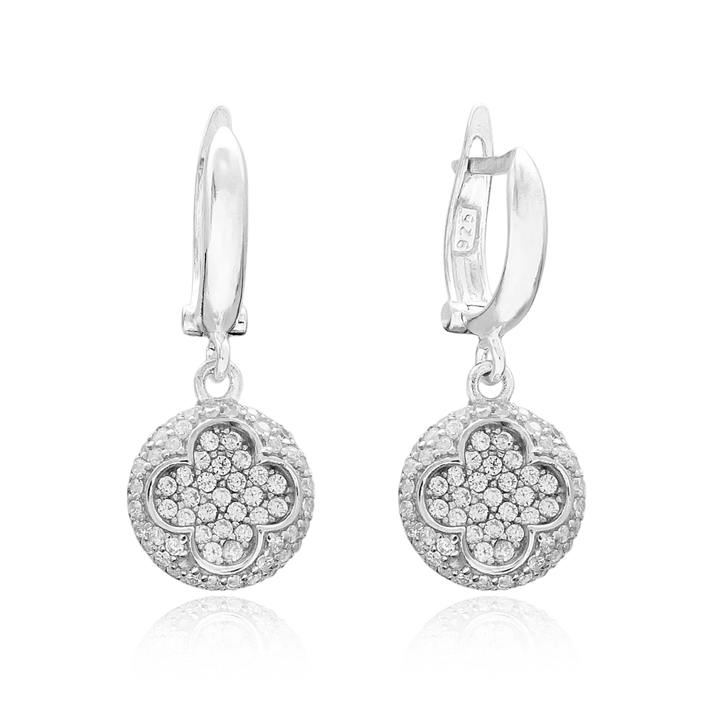 Clover Round Dangle Design Turkish Wholesale 925 Sterling Silver Jewelry Earring