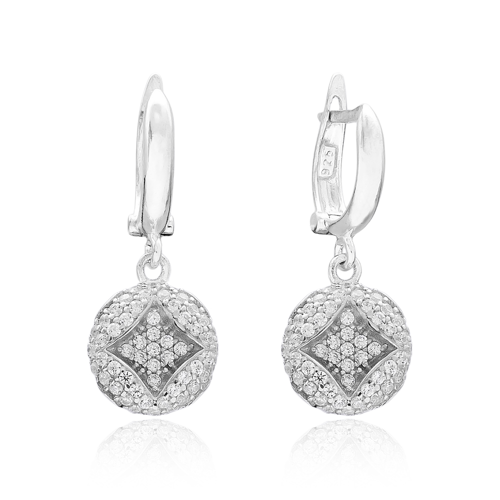 Round Dangle Design Turkish Wholesale 925 Sterling Silver Jewelry Earring