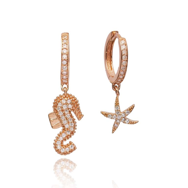 Delicate Starsea And Horsefish Earrings Turkish Wholesale 925 Sterling Silver Jewelry